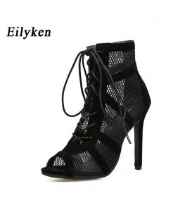 Eilyken Black Net Fabric Cross Strap high Heel Sandals