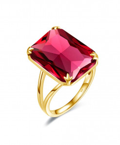 Szjinao 925 Sterling Silver Red Ruby Golden Rectangle Gemstones Ring