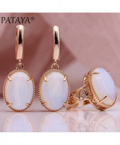 PATAYA Moonstone Natural Stone Sets Hollow Jewelry Set