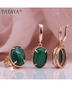 PATAYA Malachite Natural Stone Sets Hollow Jewelry Set
