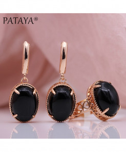 PATAYA Black Agate Natural Stone Sets Hollow Jewelry Set