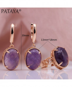 PATAYA Amethyst Natural Stone Sets Hollow Jewelry Set