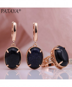 PATAYA Blue Sandstone Natural Stone Sets Hollow Jewelry Set