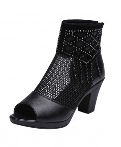 SAGACE Open Toe Mesh Zipper High Heels