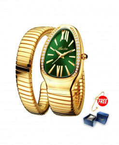 Missfox Green Dial Golden Strap Wrist Steel Stainless Watch