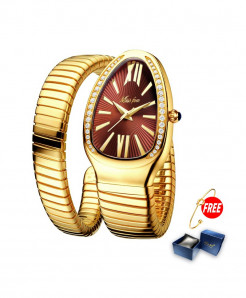 Missfox Red Dial Golden Strap Wrist Steel Stainless Watch