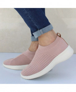 HAJINK Pink Knitting Sock Slip On Flat Shoes