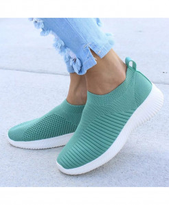 HAJINK Green Knitting Sock Slip On Flat Shoes
