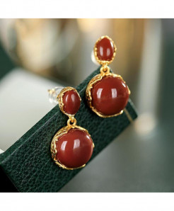 Natural Hotan South Red Chalcedony Oval Earrings