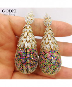 GODKI Luxury Pineapple Drop Cubic Zirconia Earrings
