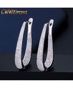 CWWZircons Micro Pave Cubic Zirconia Stone White GoldenBig Hoop Earrings