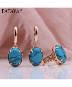 PATAYA Blue Turquoise Natural Stone Sets Hollow Jewelry Set