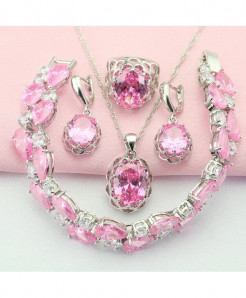 WPAITKYS Pink Stone Silver Color Jewelry Set