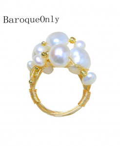 BaroqueOnly  Multiple White Wired Pearl Nest Ring
