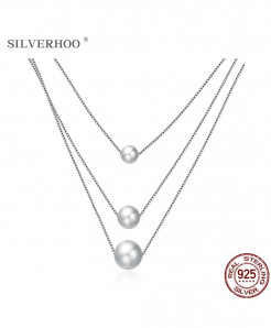 SILVERHOO Shell Pearl 925 Sterling Silver Three Layers Necklace