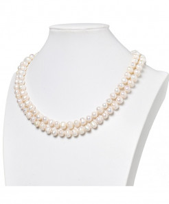Two Rows Freshwater Natural White Pearls 8-9mm Necklace