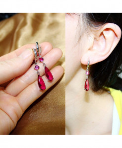 IDESTINY Red CZ Stone Dangling Earrings