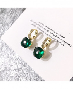 Imitation Rhodium Plated Drop Cubic Green Zirconia Stones Earrings