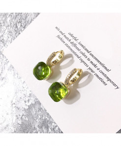 Silver Plated Drop Cubic Green Zirconia Stones Earrings