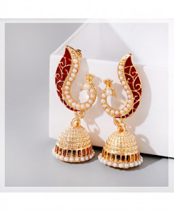 DOUVEI Red Peacock Tribe Imitation Pearls Tassel Earrings