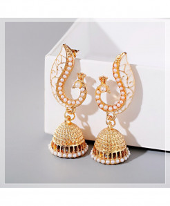 DOUVEI White Peacock Tribe Imitation Pearls Tassel Earrings