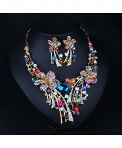 STALAIT Austrian Crystal Big Colorful Flower Jewelry Set