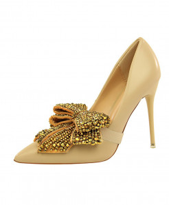 BIGTREE Apricot  Crystal Thin High Heels Butterfly-Knot Pointed Pumps