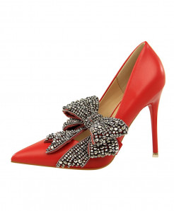 BIGTREE Red Crystal Thin High Heels Butterfly-Knot Pointed Pumps