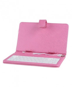 7inch Leather Keyboard Case for Tablet PC (Pink)