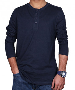 Navy Blue Button Style Round Neck T-Shirt