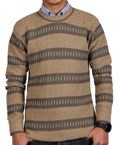 Brownish Striper Full Sleeve Sweater MWS-050