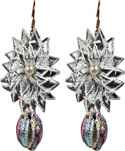 Silver Big Star With Multi Color Beed Handmade Earring