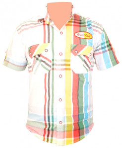 Thai Double Pocket Yellow White Short Sleeve Shirt