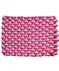 Baby Pink And Bengal Pink Polyester Door Mat Rope