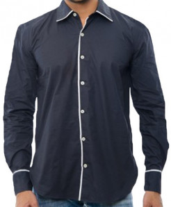 Black Casual Shirt With White Tipping RT-2340