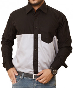 Black Designer Shirt With Silver Contrast-3527