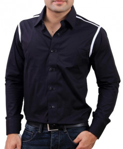 Black Designer Shirt With White Shoulder Tip-3518