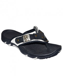 Black Flip Flop Front Leather Patch Casual Slipper SN-1439