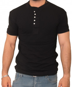 Black Round Neck Modern Style Summer T-Shirt