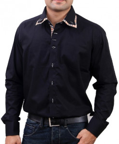 Black Shirt With Checked Contrast DS-987