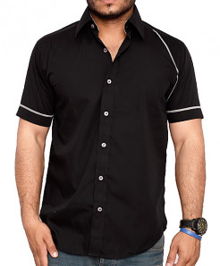 Black Short Sleeve Designer Shirt With Grey Placket