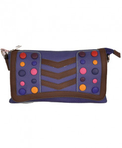 Blue Based Clutch With Multicolored Buttons