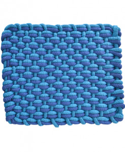 Blue Marlin And Aqua Polyester Door Mat Rope