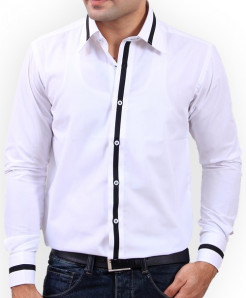 Cool White Designer Shirt With Black Tip-3517