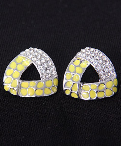 Geometrical Cut Diamante Ear Studs