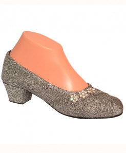 Glittery Silver Round Toe Pumps With Flowers SP-014