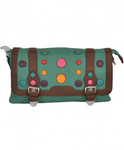 Green Clutch With Round Multicolored Buttons