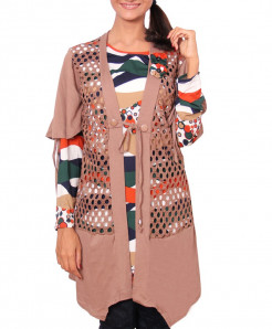Light Brown Full Sleeve Top With Front Open