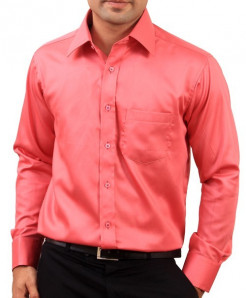 Light Red Full Sleeve Plain Formal Shirt