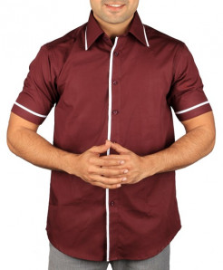 Maroon Short Sleeve Designer Shirt With Contrast Tipping